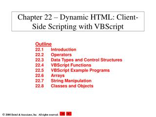 Chapter 22 � Dynamic HTML: Client-Side Scripting with VBScript