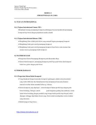 Jurusan Teknik Spil Fakultas Teknik Sipil dan Perencanaan Universitas Mercu Buana MODUL 8