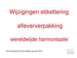 Wijzigingen etikettering  afleververpakking wereldwijde harmonisatie