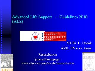 Advanced Life Support   -   Guidelines 2010  (ALS)