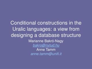 Conditional constructions in the Uralic languages: a view from designing a database structure