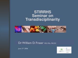 STIRRHS  Seminar on  Transdisciplinarity