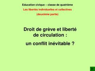Education civique   classe de quatri me Les libert s individuelles et collectives deuxi me partie