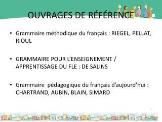 OUVRAGES DE RÉFÉRENCE