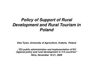 Policy of Support of Rural Development and Rural Tourism in Poland