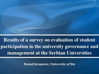 Nenad Jovanovic, University of Nis
