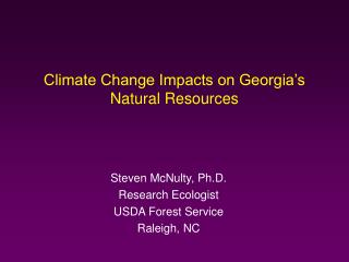 Climate Change Impacts on Georgia's Natural Resources