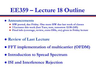 EE359 � Lecture 18 Outline