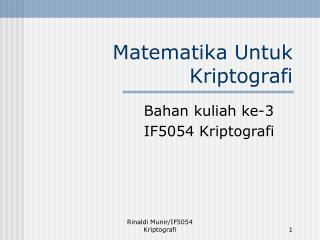 Matematika Untuk Kriptografi