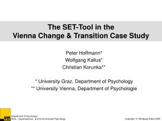 The  SET-Tool in the  Vienna Change & Transition Case Study