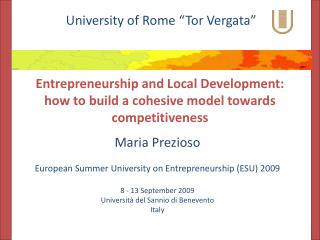 Entrepreneurship  and Local Development: how to build a cohesive model towards competitiveness