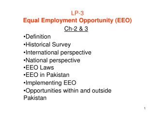 LP-3 Equal Employment Opportunity (EEO)
