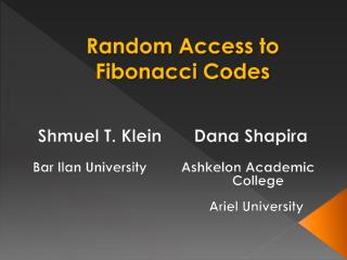 Random Access to Fibonacci Codes