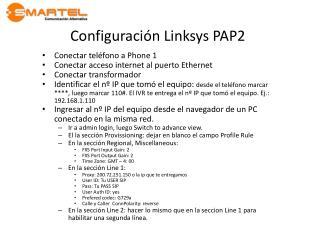 Configuraci�n Linksys PAP2