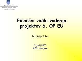 Finančni vidiki vodenja projektov 6. OP EU