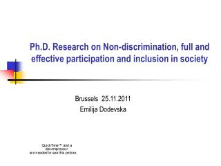 Ph.D. Research on Non-discrimination, full and effective participation and inclusion in society