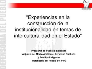 Programa de Pueblos Indígenas   Adjuntía del Medio Ambiente, Servicios Públicos