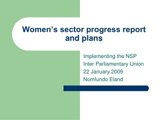 Women's sector progress report and plans