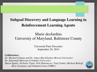 Subgoal  Discovery and Language Learning in Reinforcement Learning Agents