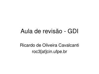 Aula de revisão - GDI