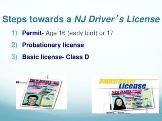 Steps towards a  NJ Driver ' s License