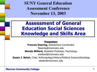 Assessment of General Education Social Sciences  Knowledge and Skills Area