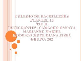 COLEGIO DE BACHILLERES PLANTEL 13  TIC II INTEGRANTES: CAMACHO OSNAYA MARIANNE MARIEL