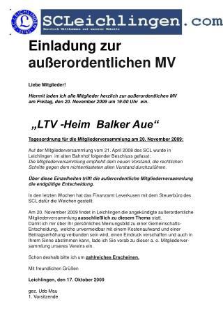 Einladung zur   außerordentlichen MV