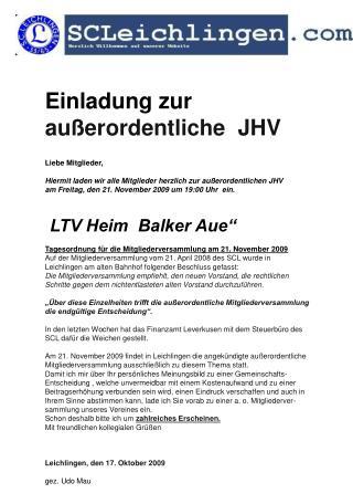 Einladung zur ordentlichen JHV 2009  Einladung zur   außerordentliche  JHV