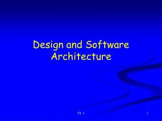 Design and Software Architecture
