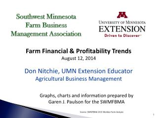 Farm Financial & Profitability Trends August 12, 2014 Don Nitchie, UMN Extension Educator