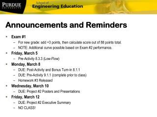 Announcements and Reminders