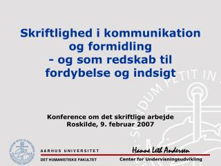 Hanne Leth Andersen  Center for Undervisningsudvikling