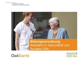 Bildungsverordnung Assistent/-in Gesundheit und  Soziales EBA