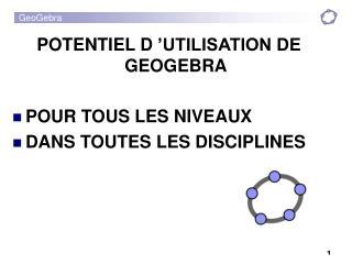 POTENTIEL D'UTILISATION DE GEOGEBRA  POUR TOUS LES NIVEAUX DANS TOUTES LES DISCIPLINES