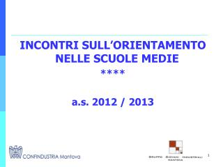 INCONTRI SULL'ORIENTAMENTO NELLE SCUOLE MEDIE ****  a.s. 2012 / 2013