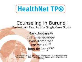 Counseling in Burundi Preliminary Results of a Single Case Study