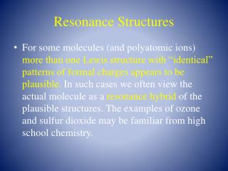 Resonance Structures