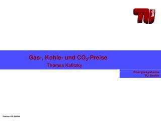 Gas-, Kohle- und CO2-Preise