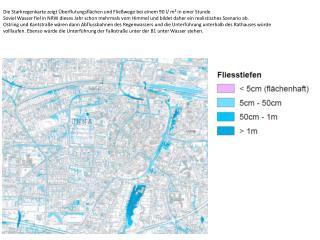 Die Starkregenkarte zeigt Überflutungsflächen und Fließwege bei einem 90 l/ m² in einer Stunde