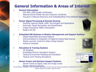 General Information & Areas of Interest