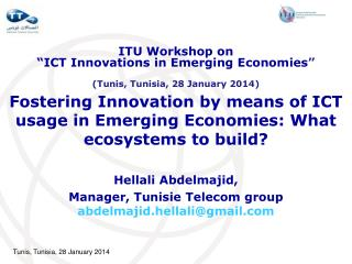 Fostering Innovation by means of ICT usage in Emerging Economies: What ecosystems to build?