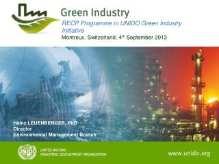 RECP Programme in UNIDO Green Industry Initiative Montreux, Switzerland, 4 th  September 2013