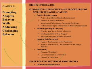 CHAPTER 31  Promoting Adaptive Behavior While Addressing Challenging Behavior