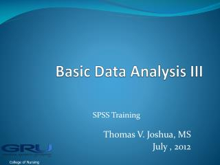 Basic Data Analysis III