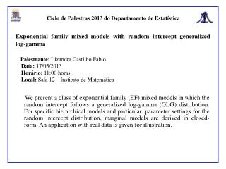Ciclo de Palestras 2013 do Departamento de Estatística