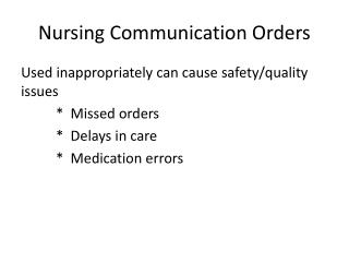 Nursing Communication Orders
