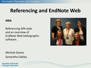Referencing and EndNote Web