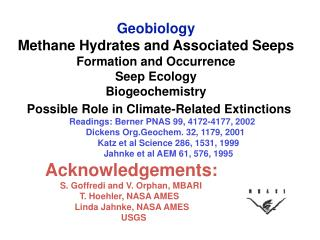 Geobiology Methane Hydrates and Associated Seeps Formation and Occurrence  Seep Ecology