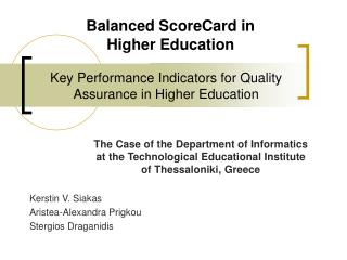 Key Performance Indicators for Quality Assurance in Higher Education